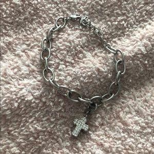 Swarovski cross charm & charm bracelet